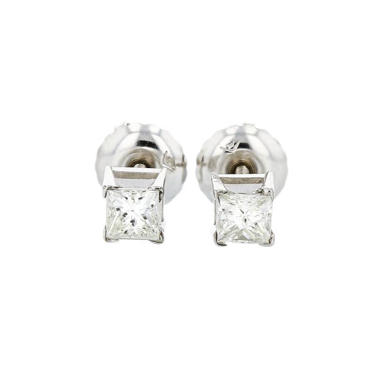 14k White Gold Diamond Stud Earrings. Two Princess Cut Diamonds in Prong Set