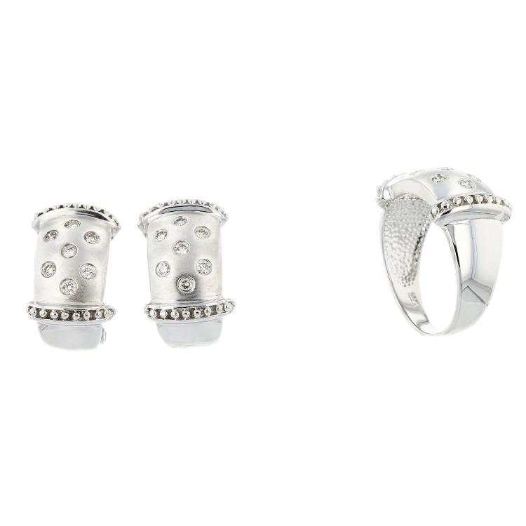 Elegant 14K White Gold Women's Diamond Ring & Earrings Set - Brand New