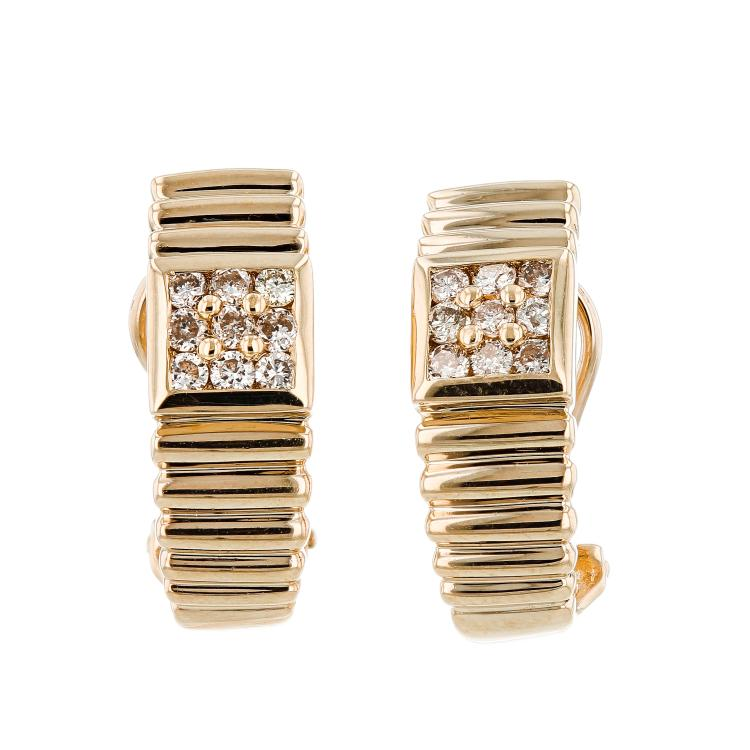 14K Yellow Gold Earrings. Eighteen Round Brilliant Diamonds in Channel Set