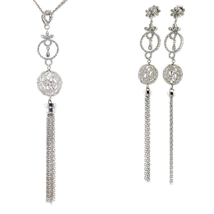 Modern 14K White Gold Diamond Necklace Pendant Earrings Set - 2.89CTW - New