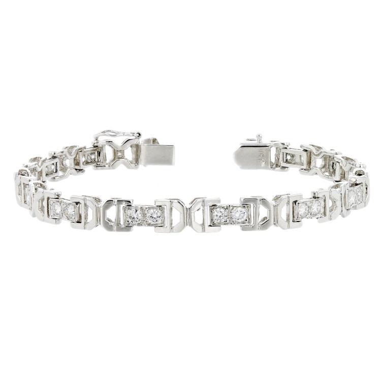 Exquisite 14K White Gold Women's Sparkling Diamond Bracelet 2.01CTW - Brand New