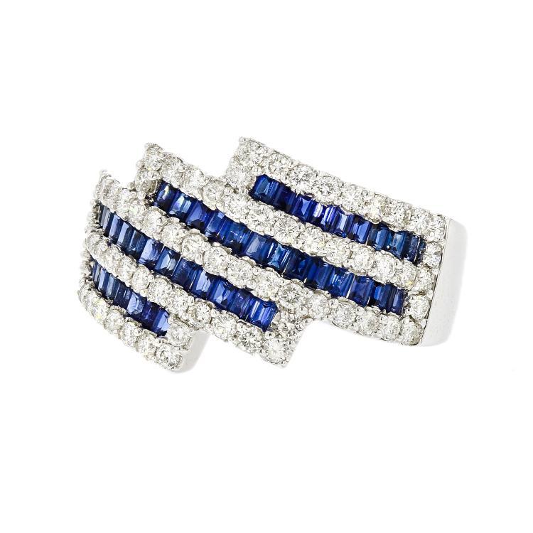 Stylish Modern 18K White Gold Women's Diamond & Sapphire Ring - 1.03CTW/1.41CTW - New