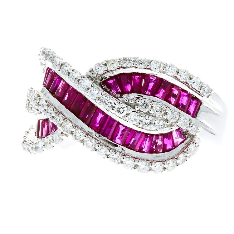 Unique Modern 18K White Gold Women's Diamond & Ruby Ring - 1.12CTW/3.09CTW - Brand New