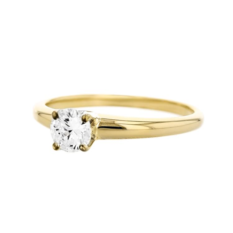 Elegant 14K Two Tone White & Yellow Gold Women's Engagement Diamond Ring - New