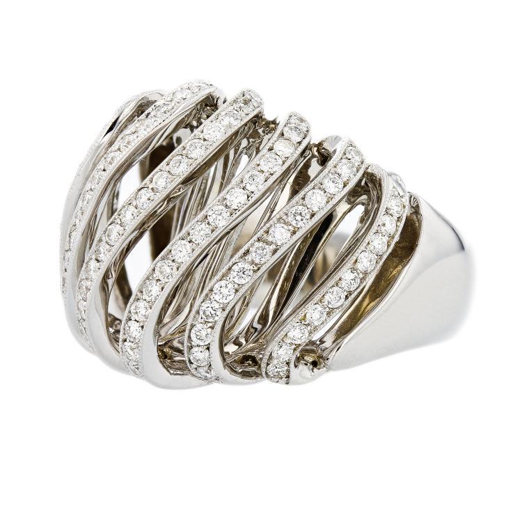 Stylish Modern 14K White Gold Women's Unique Diamond Ring 1.00CTW - Brand New