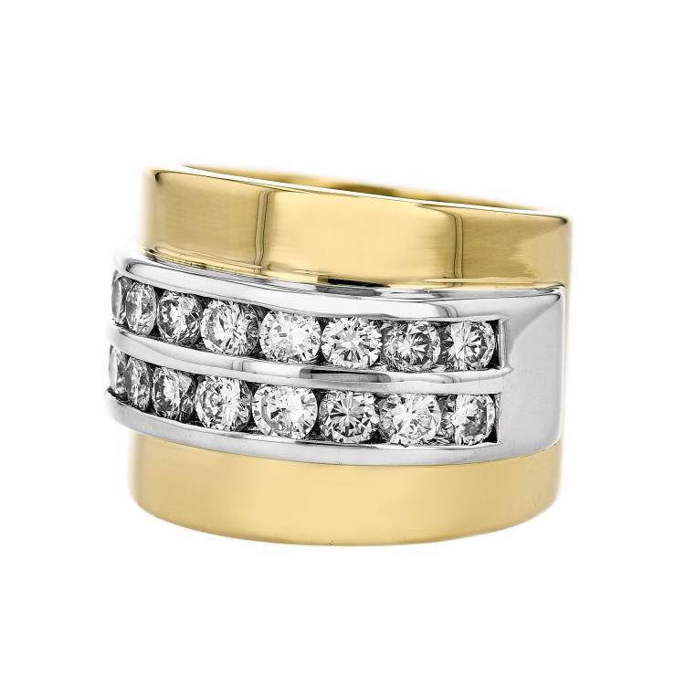 Unique Modern 18K Yellow & White Gold Women's Diamond Ring - 1.72CTW - Brand New