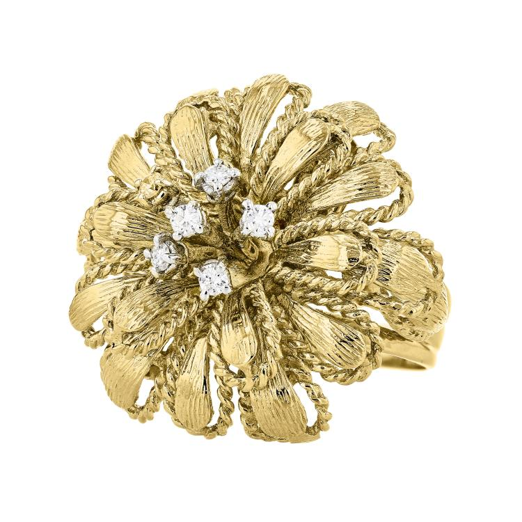 Charming Modern 18K Yellow & White Flower-Shaped Gold Women's Diamond Ring - New