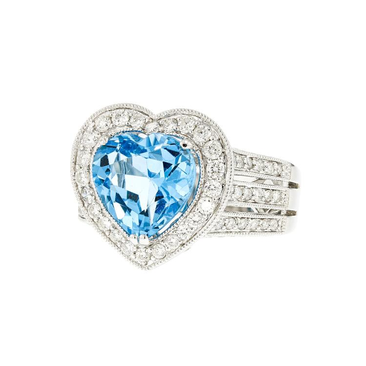 Exquisite Modern 18__ White Gold Womens Heart Shaped Blue Topaz Diamond Ring New