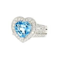 Exquisite Modern 18__ White Gold Womens Heart Shaped Blue Topaz Diamond Ring New