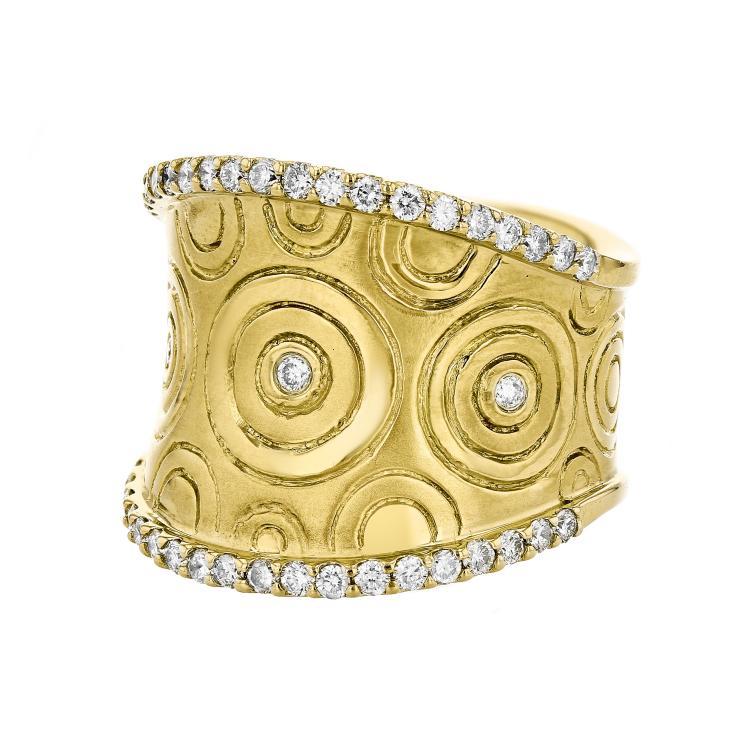 Stunning Modern 18K Yellow Gold Women's Unique Diamond Ring - Brand New