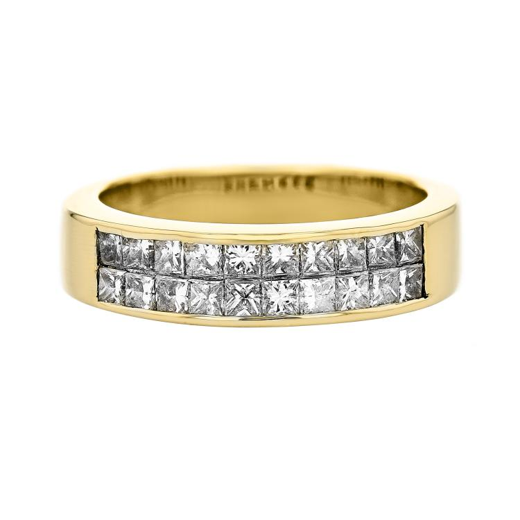 Stylish Modern 18K Yellow Gold Women's Diamond Ring 1.20CTW - Brand New