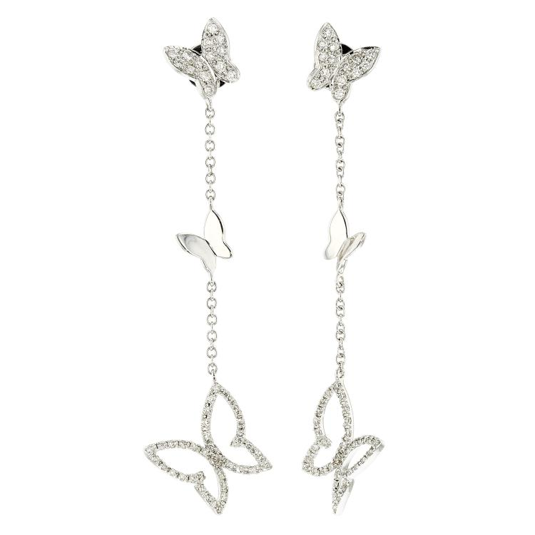 Beautiful Modern 18K White Gold Diamond Butterfly Shaped Earrings - Brand New