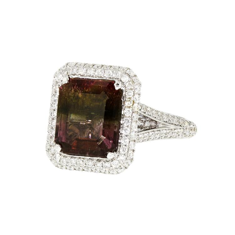 Gorgeous 18K White Gold Women's Diamond & Tourmaline Ring - 1.22CT - Brand New