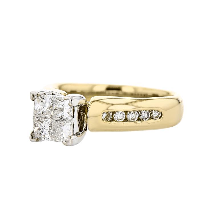 Gorgeous 14K Yellow White Gold Women's Engagement Diamond Ring - Brand New