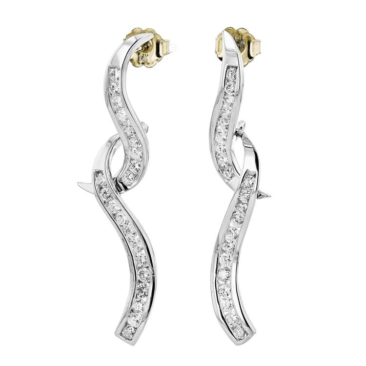 Exquisite Modern 14K White Gold Diamond Earrings - 1.12 CTW - Brand New