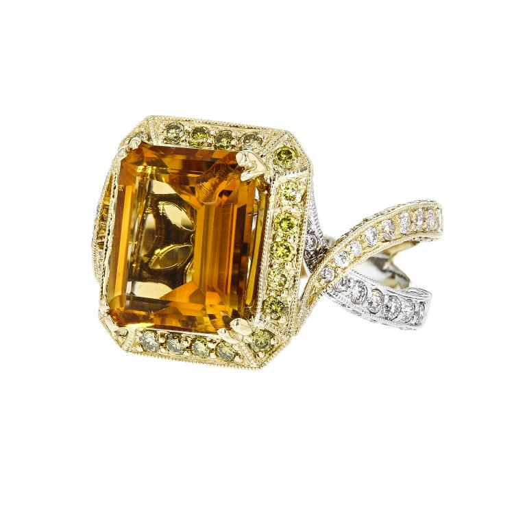 Fancy 18__ White & Yellow Gold Diamond & Citrine Women's Ring 2.03CTW - Brand New