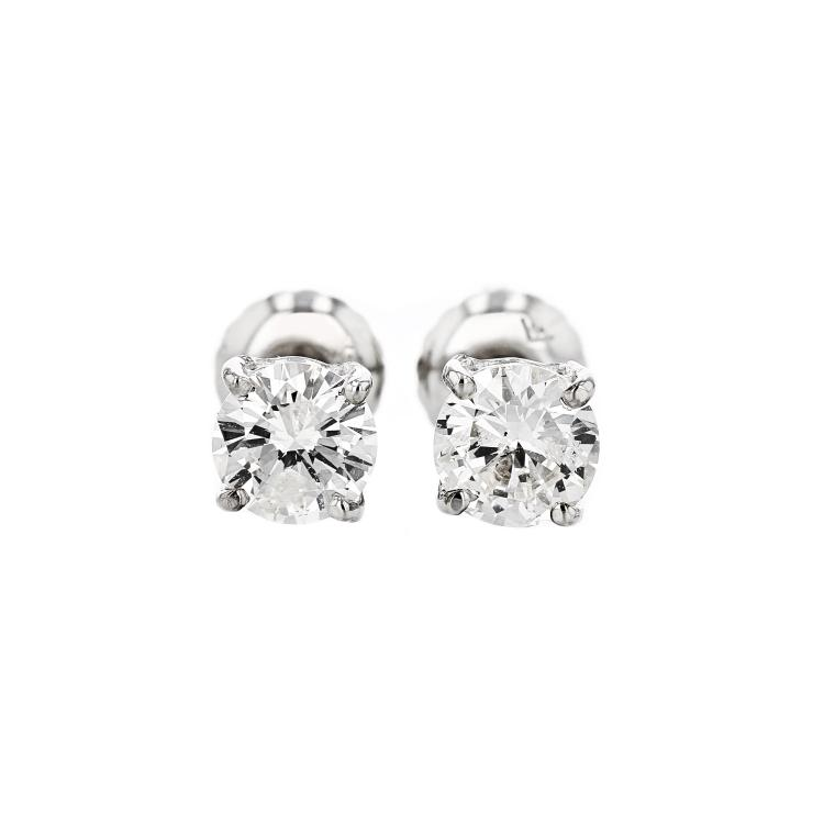 Elegant 14K White Gold Sparkling Diamond Earrings - Brand New