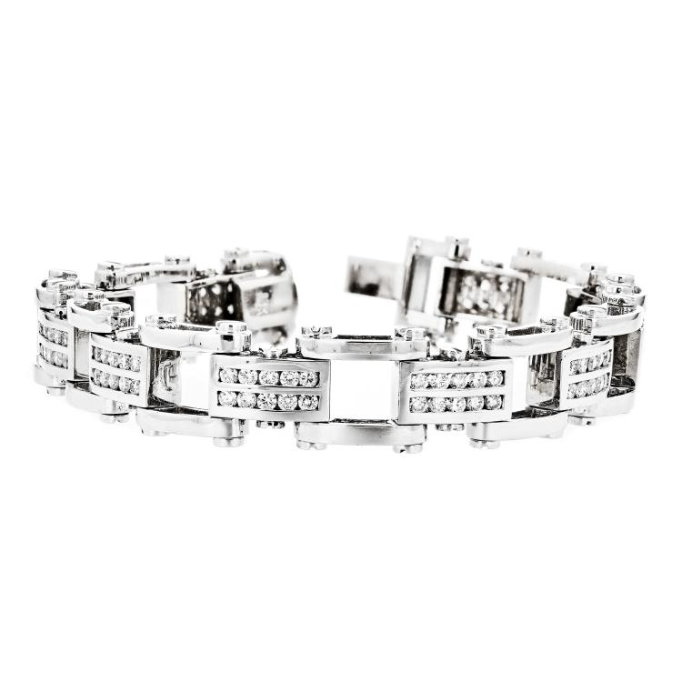 Exquisite 14K White Gold Modern Unisex Diamond Bracelet - 4.61CTW - Brand New