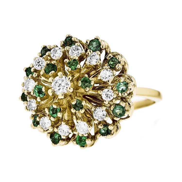 Beautiful & Unique 14K Yellow Gold Women's Diamond & Emerald Ring - Brand New