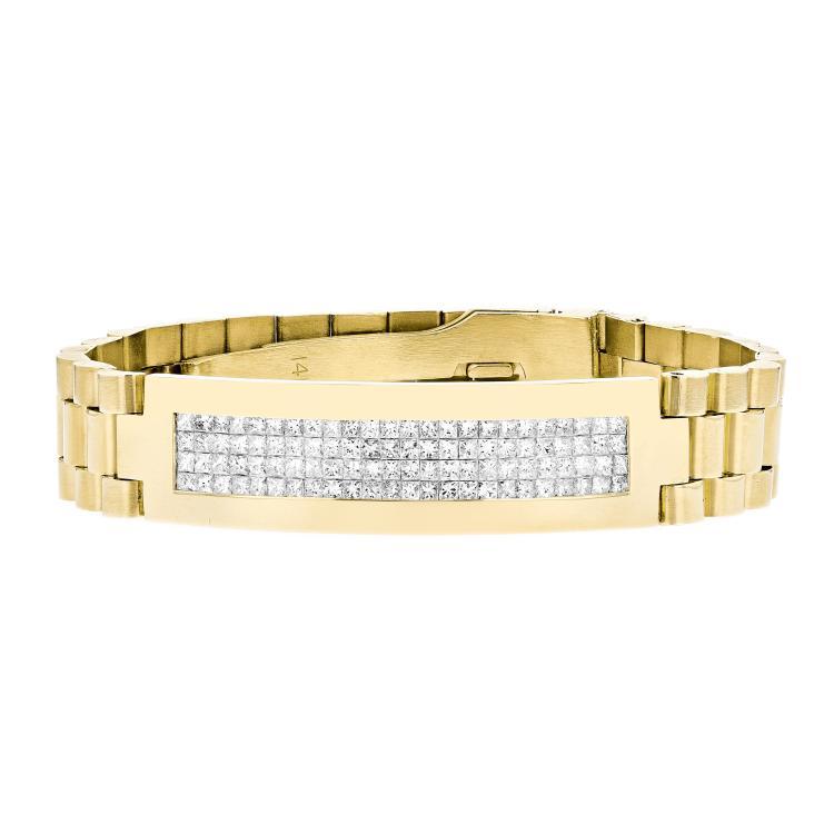 Modern 14K Yellow Gold Men's Elegant Diamond Bracelet - Brand New