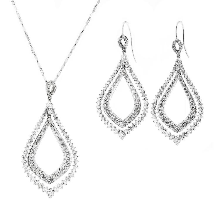 Gorgeous 14K White Gold Women's Diamond Earrings & Necklace 6.75CTW - Brand New
