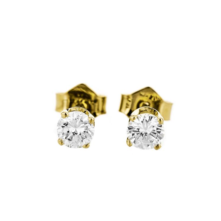 Gorgeous 14K Yellow Gold Diamond Earrings - Brand New