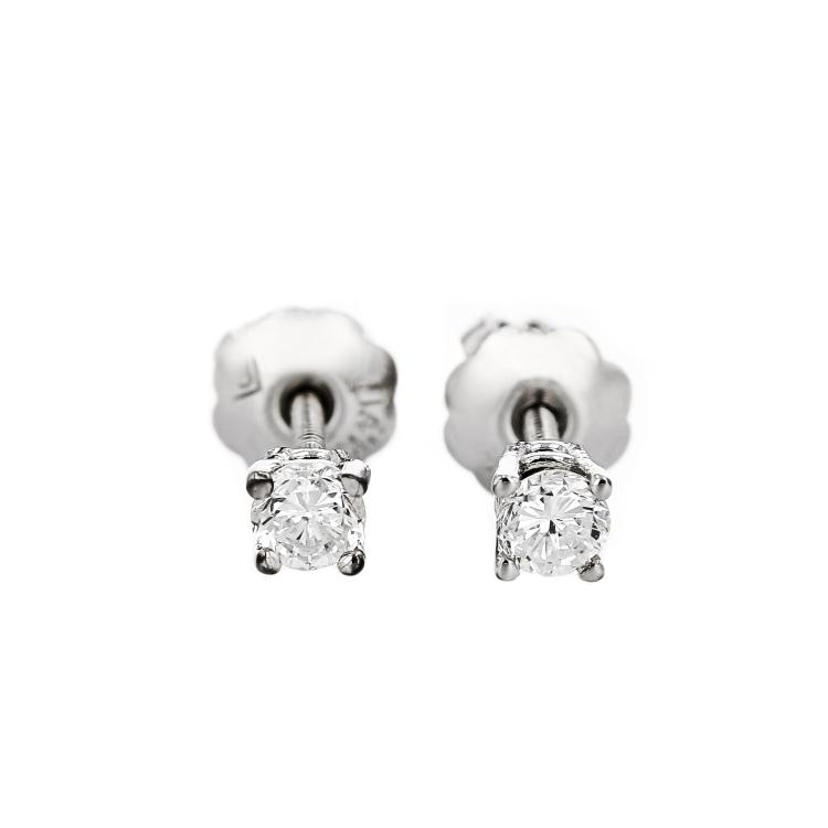 Charming 14K White Gold Diamond Earrings - Brand New