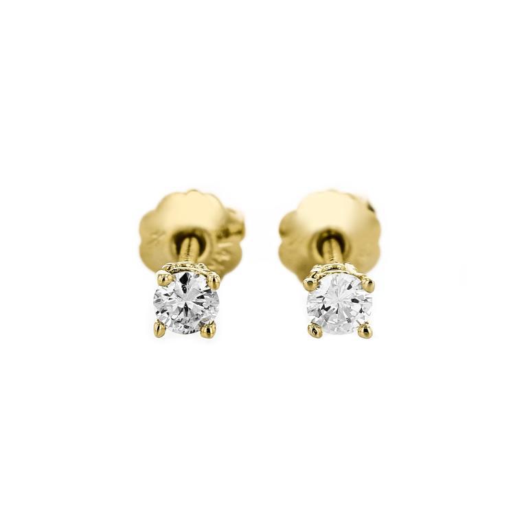 Elegant 14K Yellow Gold Diamond Earrings - Brand New