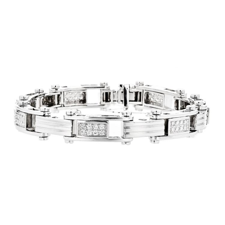 Stunning 14K White Gold Diamond Women's Bracelet 1.40CTW - Brand New