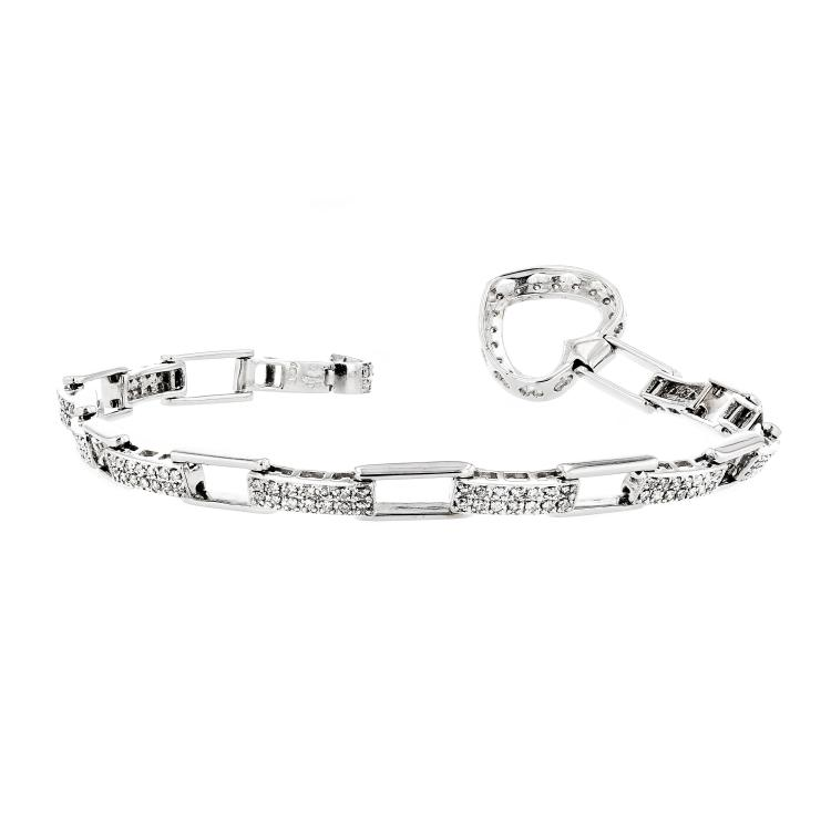 Beautiful and Charming 14K White Gold Women's Diamond Bracelet - Brand New