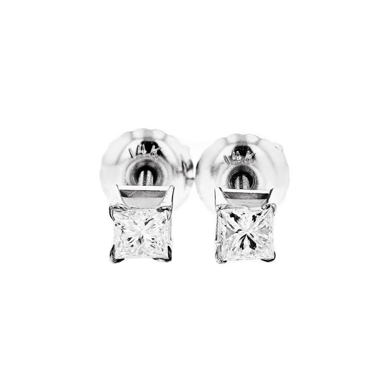 Stunning 14K White Gold Women's Elegant Diamond Stud Earrings - Brand New