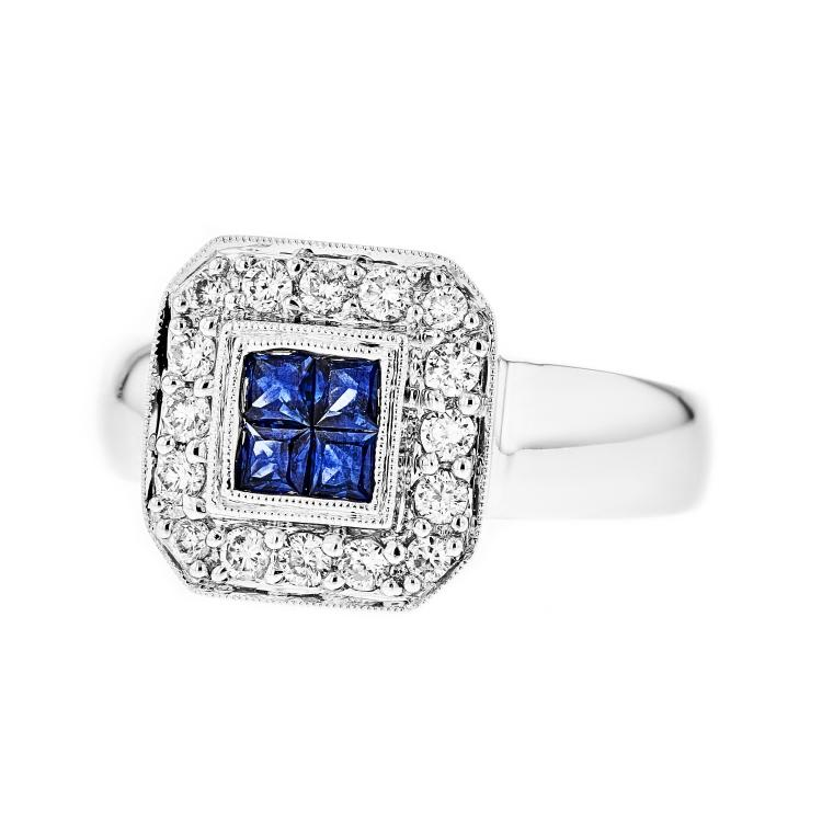 Beautiful Fancy 18K White Gold Women's Diamond & Sapphire Ring - Brand New