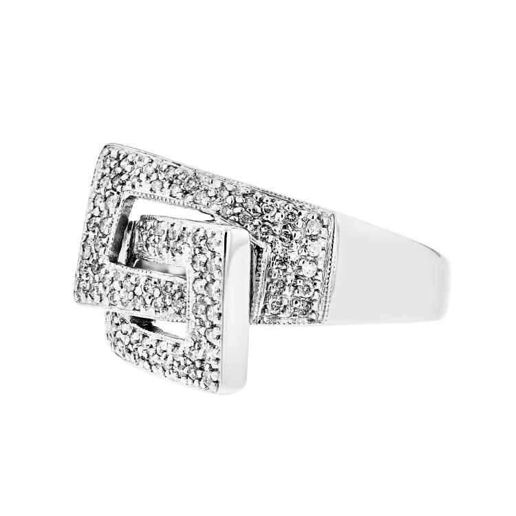 Stylish & Unique 14K White Gold Women's Diamond Ring - Brand New