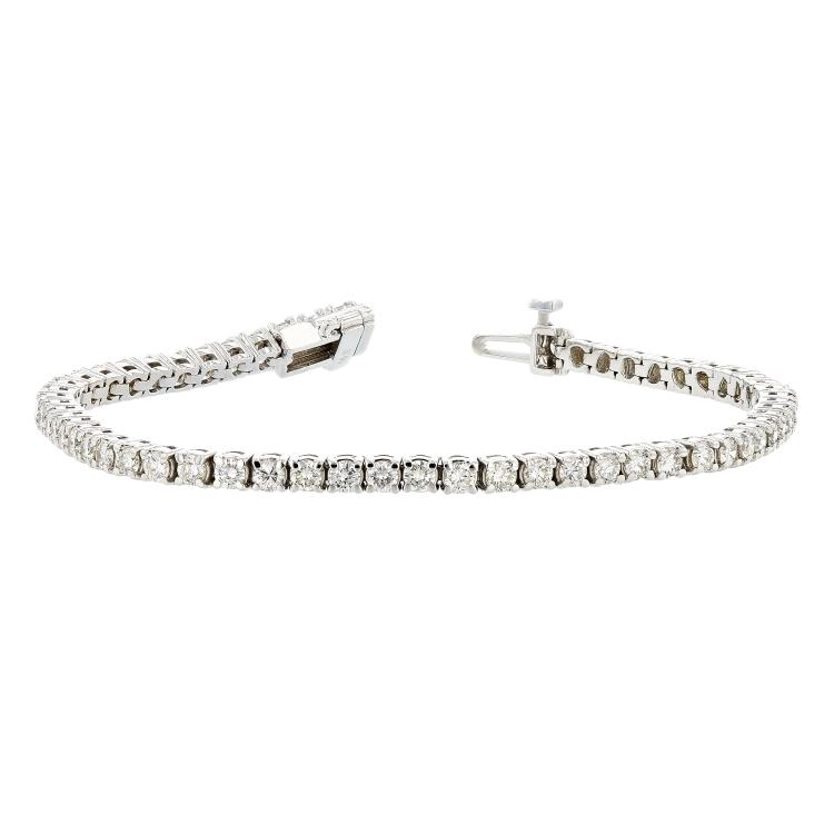 Stunning 14K White Gold Women's Tennis Diamond Bracelet - 3.78CTW - Brand New