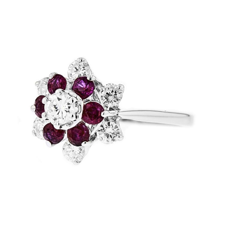 Exquisite 14K White Gold Women's Diamond & Ruby Ring - Brand New