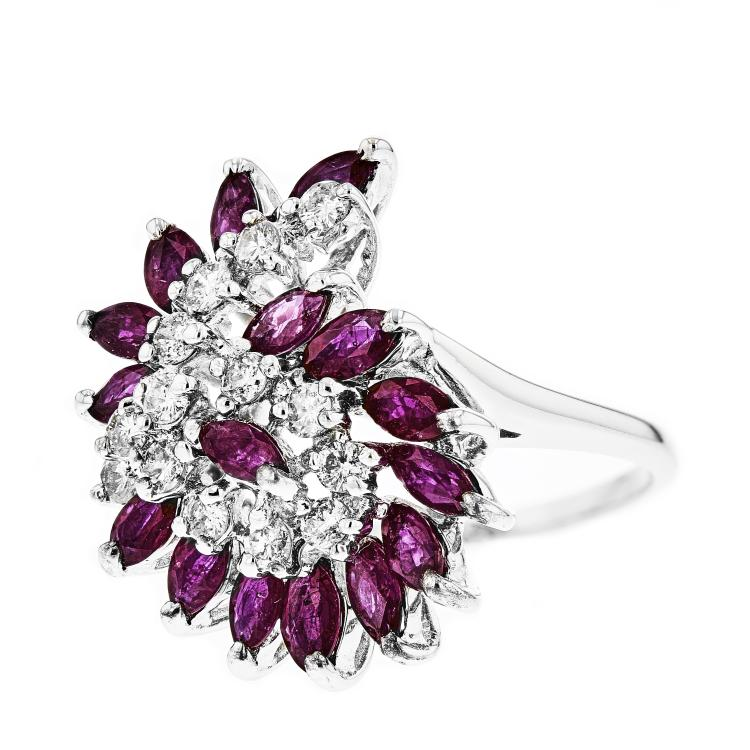 Stylish Modern 14K White Gold Women's Diamond & Ruby Ring - Brand New
