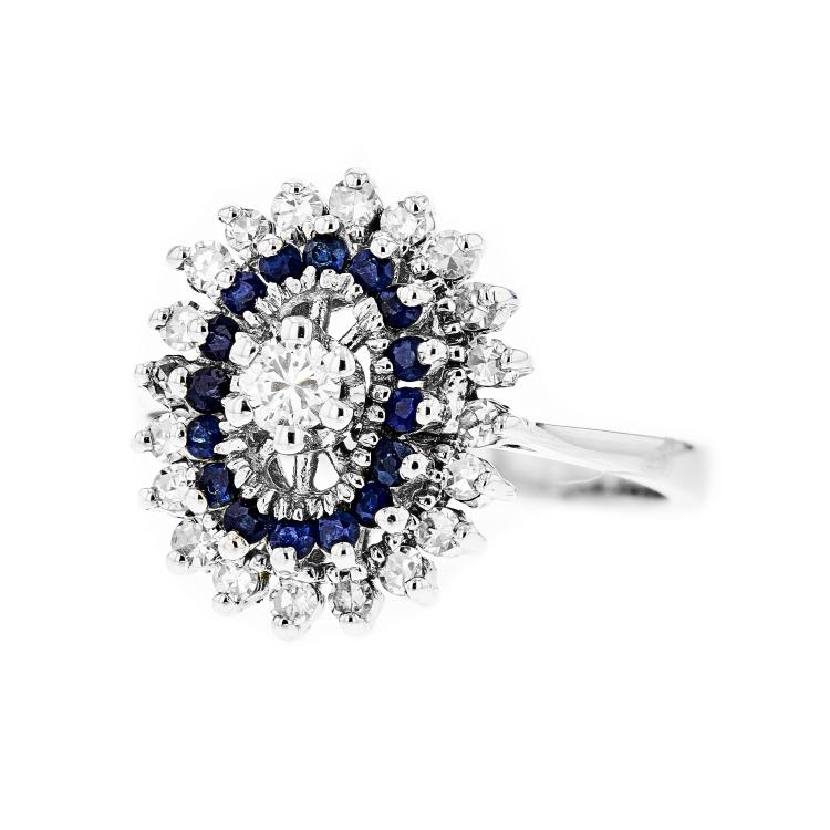 Charming 14K White Gold Women's Diamond & Sapphire Ring - Brand New