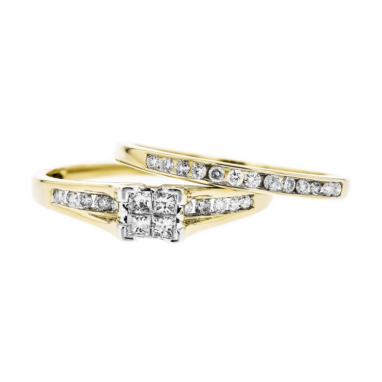 Charming 10K Yellow Gold Women's Elegant Diamond Double Ring - Brand New