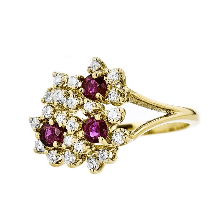 Gorgeous 14K Yellow Gold Flower-Shaped Women's Diamond & Ruby Ring - Band New
