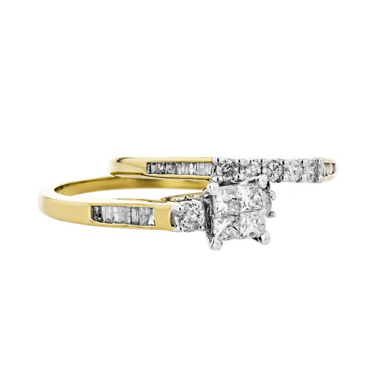 Charming & 10K Yellow Gold Women's Exquisite Diamond Double Ring - Brand New