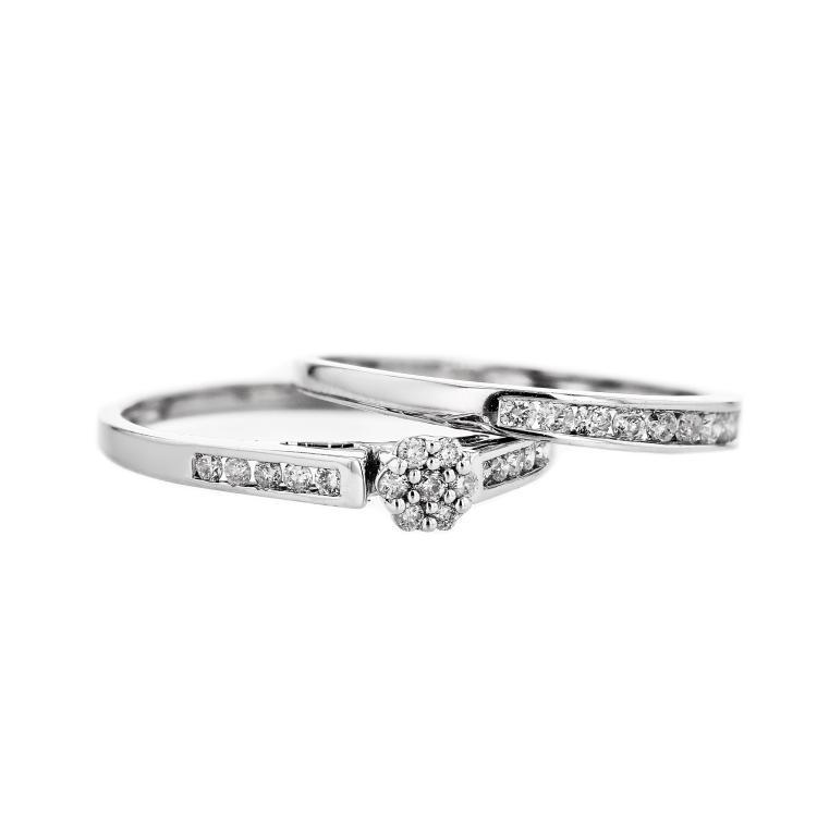 Charming 10K White Gold Bridal Set Women's Diamond Ring - Brand New
