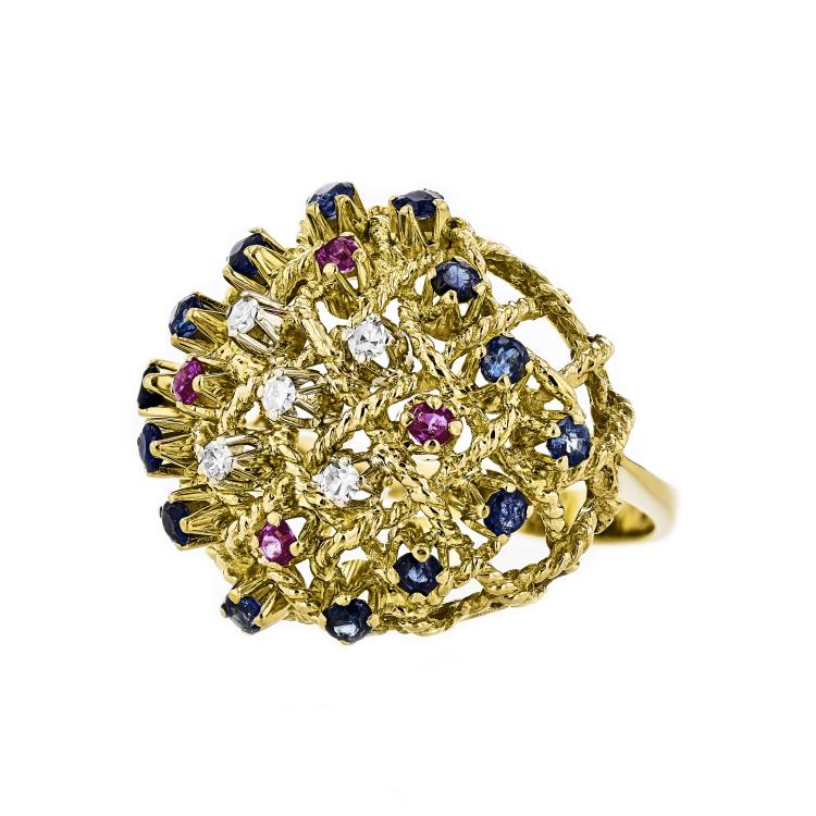 Exquisite 18K Yellow Gold Diamond/Sapphire/Ruby Unique Women's Ring - Brand New