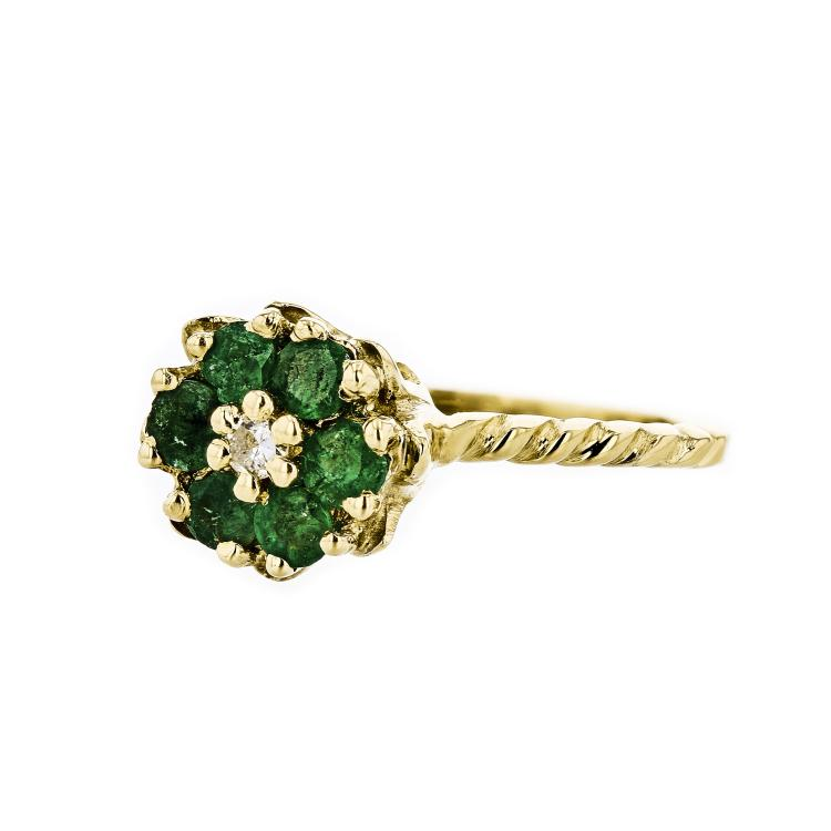 Gorgeous 14K Yellow Gold Women's Emerald & Diamond Ring - Brand New