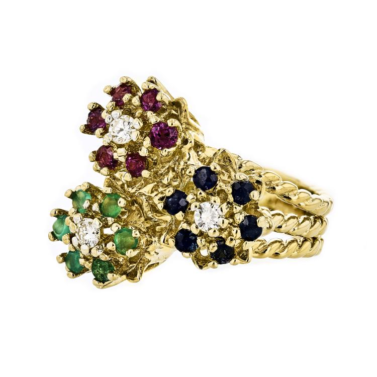 Gorgeous 18K Yellow Gold Women's Flower Diamond & Sapphire & Emerald Ring - New