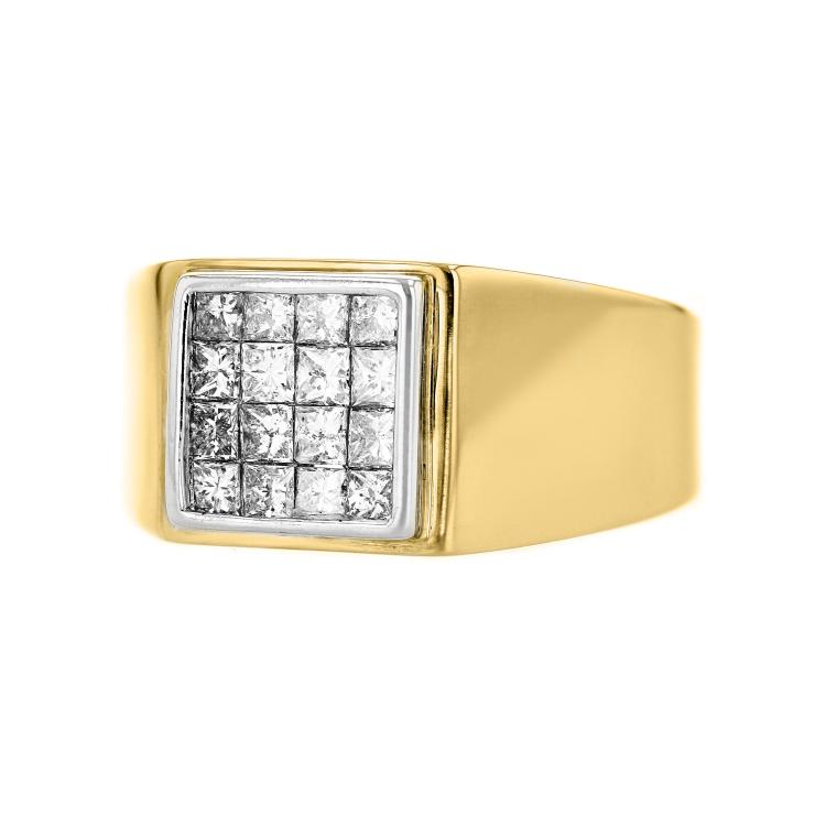 Stunning Modern Mens 14K Two-Tone Yellow & White Gold Diamond Signet Ring - New