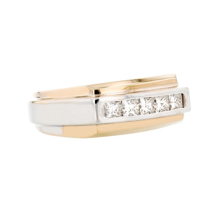 Stylish Modern 14K Yellow & White Gold Diamond Mens/Womens/Unisex Ring - New
