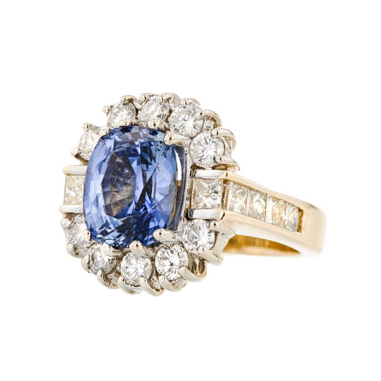 Gorgeous Modern 14K Yellow Gold Blue Sapphire & Diamond Halo Ladies Ring 3.15CTW