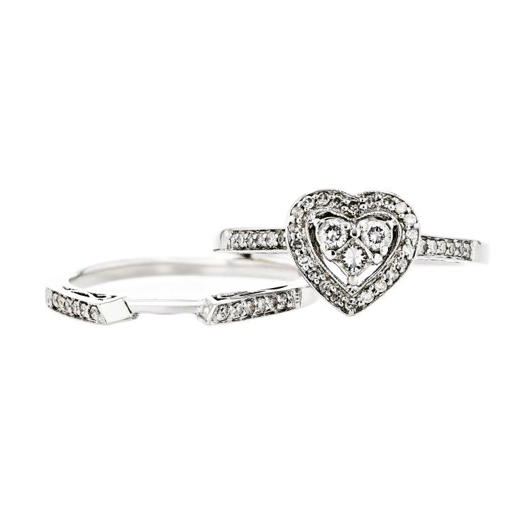 Charming Modern Ladies 14K White Gold Diamond Heart Shaped Design Ring - New
