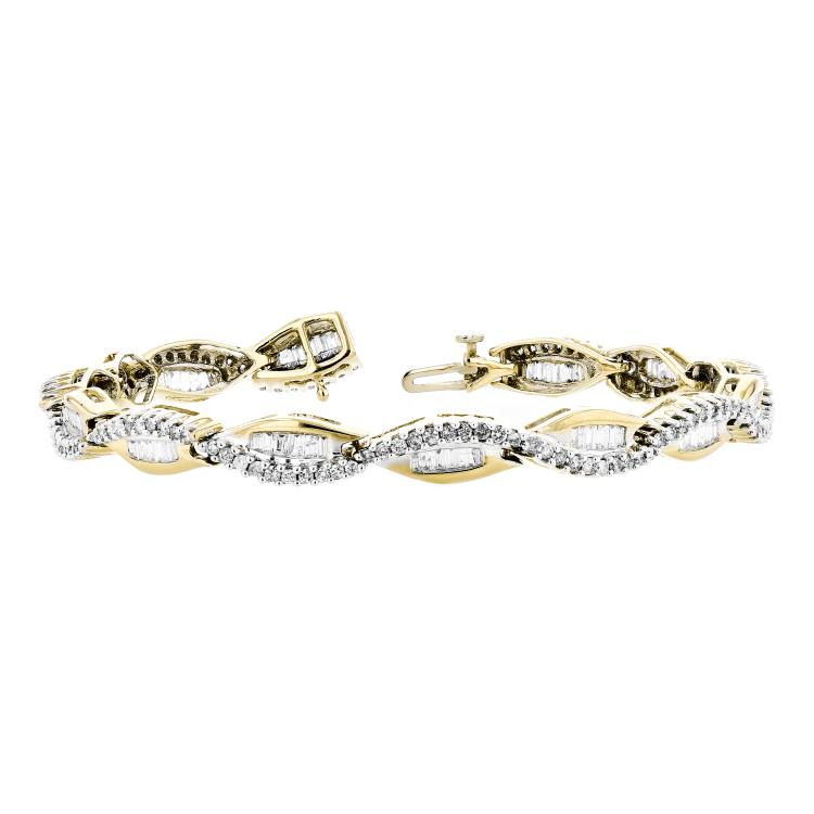 Exquisite Modern 14K White & Yellow Gold Ladies Diamond Bracelet - 2.61CTW - New