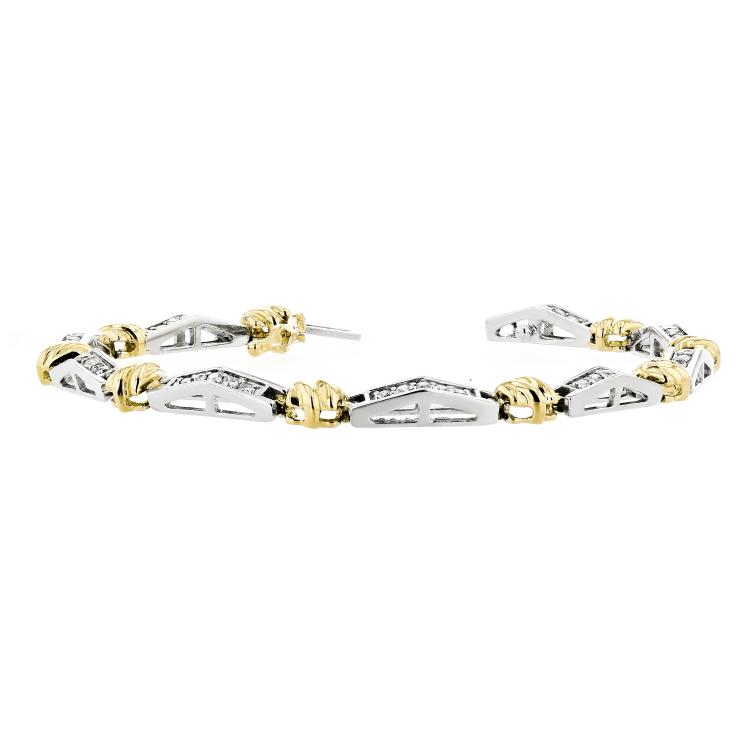 Stylish Modern 14K Two-Tone White & Yellow Gold Ladies Diamond Bracelet - New